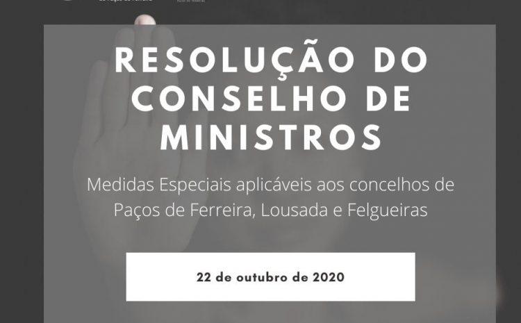 Comunicado do Conselho de Ministros de 22 de outubro de 2020